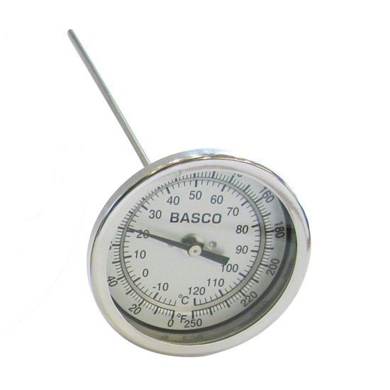 """Picture of THERMOMETER 3"""" X 6"""" (0-250°F) 1/4"""" MIPT"""