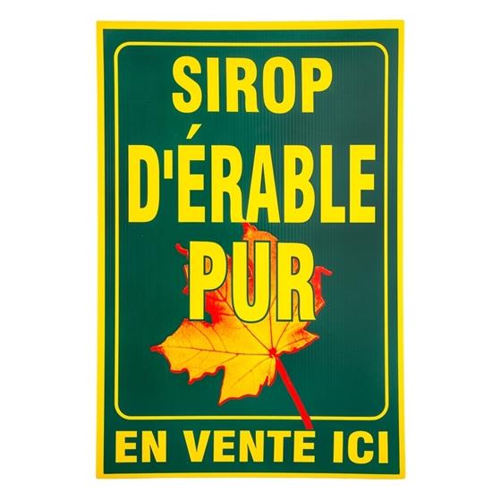 """Image sur AFFICHE PLASTIQUE 20""""X30"""" VERTE """"SIROP D'ÉRABLE PUR"""""""