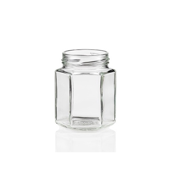 Picture of GLASS JAR 270ML HEXAGONAL