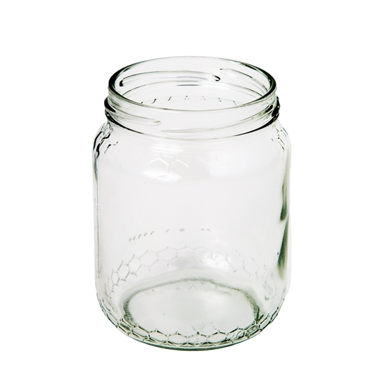 Picture of GLASS JAR 780ML EMBOSSED HONEY 82MM TW