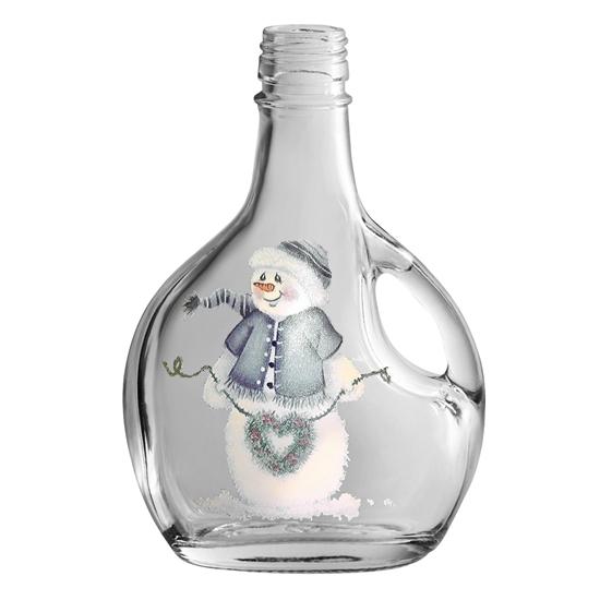 Picture of GLASS BOTTLE BASQ.250ML SNOWMAN
