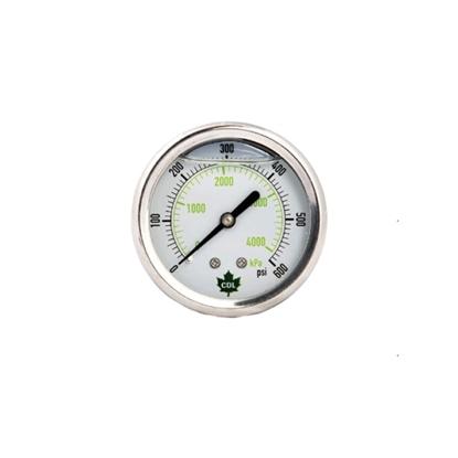 """Image de Manomètre pour pression glycérine 600 PSI 2-1/2"""" avec sortie arrière en acier inoxydable"""